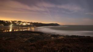 Lights near Langland Bay, Swansea, by Chris Willans