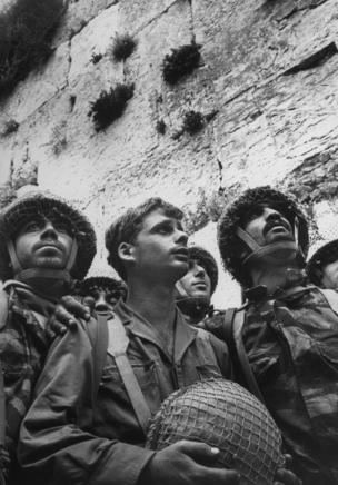 Israeli paratroopers gaze at Western Wall moments after recapture of Jewish holy site in Six-Day War, 1967