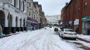 The centre of Pontypridd, Rhondda Cynon Taff, was barely passable on Friday morning