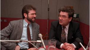 in_pictures Gerry Adams and John Hume in studio before a BBC Radio 4 interview in 1992