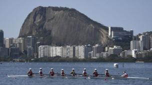 Team Poland attend a rowing training session at Lagoa stadium