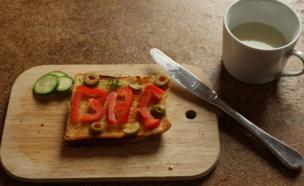 BBC spelt out onto toast