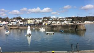 Saundersfoot Harbour, Pembrokeshire, in the sunshine