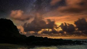 Star gazing: Steve Liddiard captured the stars as light faded over Langland Bay in Swansea