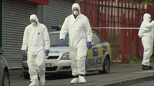 The scene of the bomb attack in west Belfast