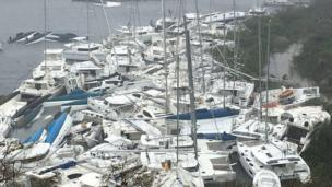 Multiple yachts crammed together in the British Virgin Islands