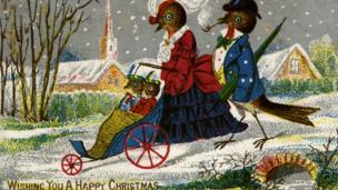 Victorian Christmas card with a family of robins
