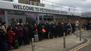 Rail passengers at Peterborough Station