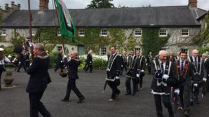 Members of the Royal Black Preceptory marching towards the field in Scrava, Craigavon, 13 July 2017