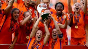 The Netherlands team celebrates after winning the Women's Euros on home turf. They beat Denmark 4-2 in the final to lift the cup.