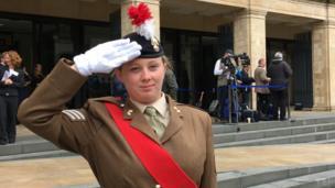 Sergeant Elizabeth Copsey, Lord Lieutenant's Cadet, waits for the duke