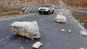 Rocks are seen on the road after an earthquake near the Darbandikhan Dam, close the city of Sulaimaniyah, Iraq - 13 November 2017