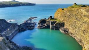 The Blue Lagoon in Abereiddy, Pembrokeshire,