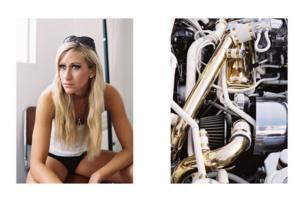 A woman next to shiny machinery