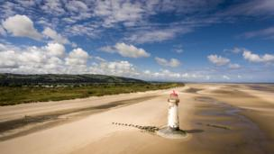 A lighthouse on the beach at Talacre, Flintshire