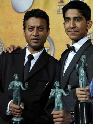 "Indian actors (L-R) Irrfan Khan and Dev Patel pose with their awards for Outstanding Cast in a Motion Picture for ""Slumdog Millionaire"" in the press room at the 15th Screen Actors Guild Awards at the Shrine Auditorium in Los Angeles, California, USA 25 January 2009"