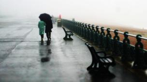 Couple walking beside the beach