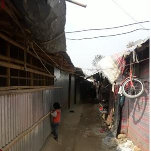 Rohingyas' makeshift shelters