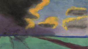 """Acuarela de Emil Nolde, """"Paisaje amplio con nubes""""."""