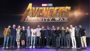 The cast of Avengers: Infinity War on stage with Kevin Feige, the president of Marvel Studios.
