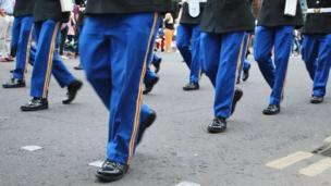 Bands marching in Twelfth of July parade