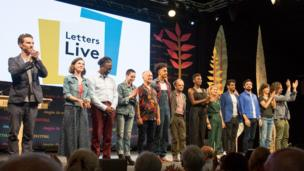 From left to right; Benedict Cumberbatch, Sophy Hunter, Clarke Peters, Rose McGowan, Tony Robinson, Jordan Stephens, Toby Jones, Yrsa Daley Ward, Louise Brealey, Prasanna Puwanarajah and Ferdinand Kingsley