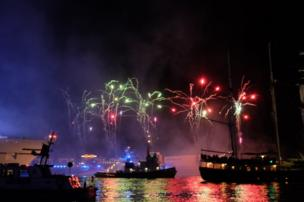 Fireworks on the River Elbe