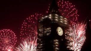 Tahun baru, kembang api, London
