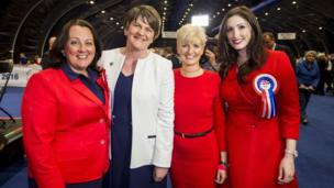 Isn't there a Chris de Burgh song in here somewhere? The DUP women in celebration form