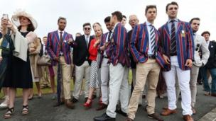 Spectators gather on the Berkshire side of the River Thames during day one of the Henley Royal Regatta