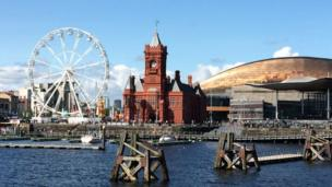 Blues skies and a big wheel at Cardiff Bay taken by Catherine Adams