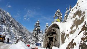 Snow covers the under-construction Lowari tunnel in Chitral,