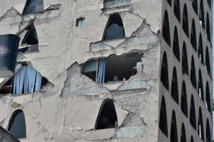 A damaged multi-storey building in Mexico City, 19 September