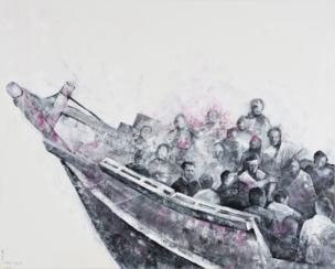 Barco de refugiados hundiéndose con Bashar al Asad dentro