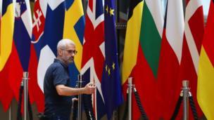 Flags at European Council headquarters