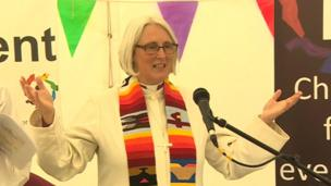 Bishop of St Davids Joanna Penberthy leads the prayers in the faith tent