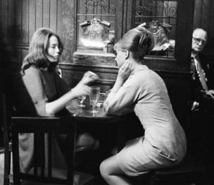 Christine Keeler and Mandy Rice - Davies taking a break from the trial of society osteopath Stephen Ward at the Old Bailey on Monday 22nd July 1963.