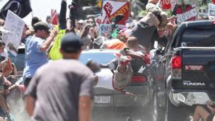Car hits protesters in Charlottesville, 12 August 2017