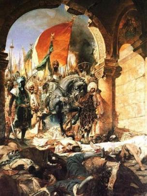Una pintura sobre el asedio de Constantinopla