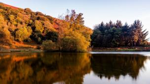 Autumnal reflections at the Punchbowl, near Blaenavon