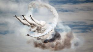 Red Arrows over Swansea on Saturday during the Wales National Airshow