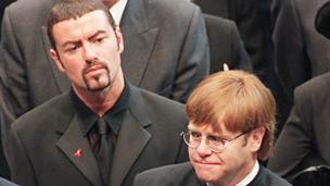 Pop stars George Michael (L) and Elton John (R) leaving Westminster Abbey following the funeral service of Diana, Princess of Wales, 6 September 1997