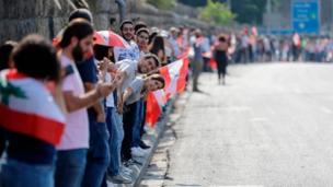 سلسة من شباب وشابات لبنان