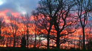 Red sky in Denbigh