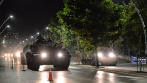 Turkish army tanks move in the main streets
