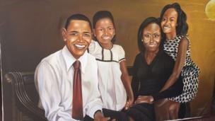 Mchoro wa Rais wa zamani wa Marekani Barrack Obama na familia yake