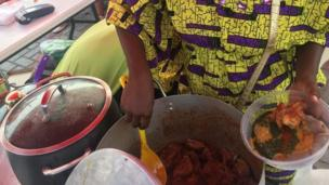 Woman dey dis put Ewedu, Gbegiri and Omi Obe for Plate