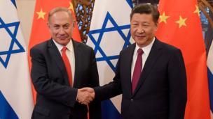 Chinese Prezzy Xi Jinpin n' Israeli Prime Minista Benjamin Netanyahu