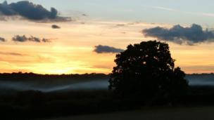 Dusk looking west from Nettlebed.
