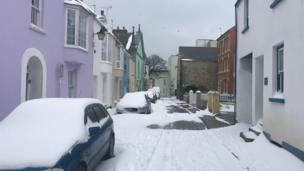 Many parts of south west Wales escaped the worst of the snow but this was the scene in Tenby